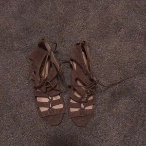 Nude suede lace up sandals